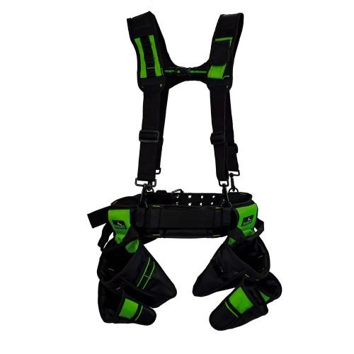 Work Gear Uk Heavy Duty Nylon tool belt Set With Padded Suspenders WG-PX02  2