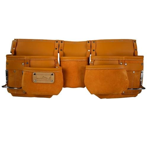Work Gear Uk 4 Pocket Yellow Split Leather Tool pouch Set WG - PX09