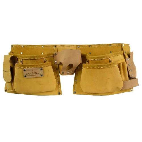 Work Gear Uk 11 Pocket Yellow Split Leather Tool pouch Set WG - PX10