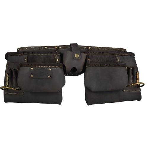 Work Gear Uk 10 Pocket Tool Belt in Heavy Duty Oil -Tanned Top Grain Leather Tool pouch Set WG-PX15