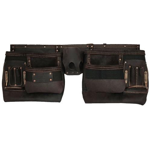 Work Gear Uk 10 Pocket Tool Belt in Heavy Duty Oil -Tanned Top Grain Leather Tool pouch Set WG-PX16