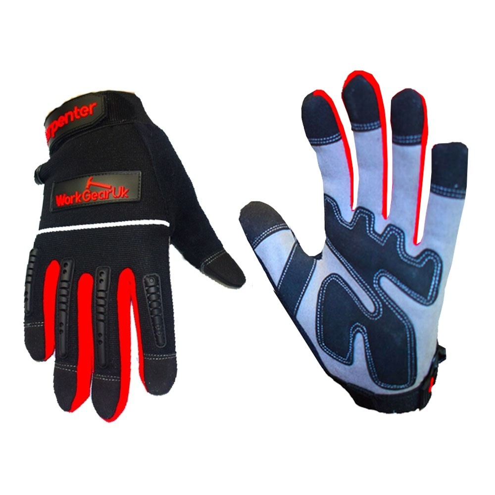 WorkGearUk Carpenter Gloves with EVA Padded Palm WG-CARPENTER Size Large