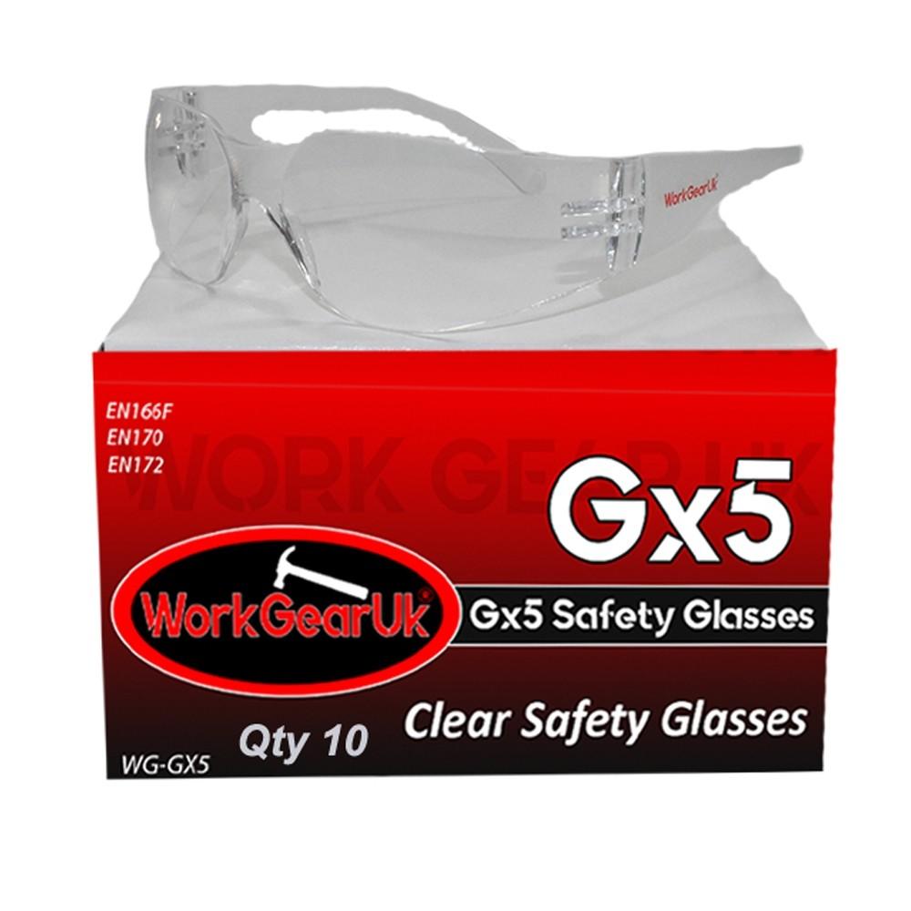 Work Gear Uk GX05 Clear Lens Safety Glass CE EN166 WG-GX05 Bulk Buy 10 Pack