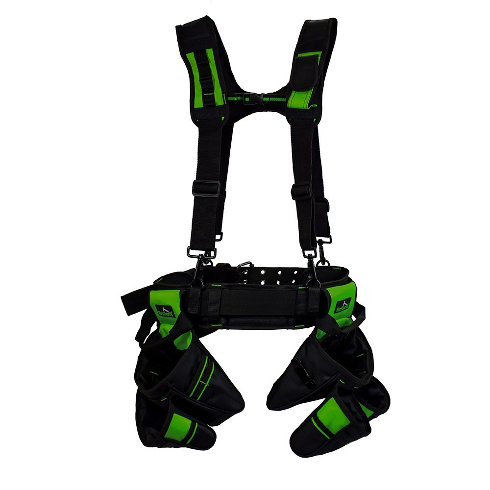 Work Gear Uk Heavy Duty Nylon tool belt Set With Padded Suspenders WG-PX02  2