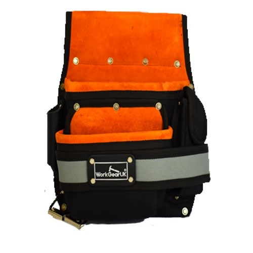 WORK GEAR UK 2 POCKET FIXING POUCH MADE FROM HEAVY DUTY POLYESTER AND SUEDE LEATHER WG-PX31