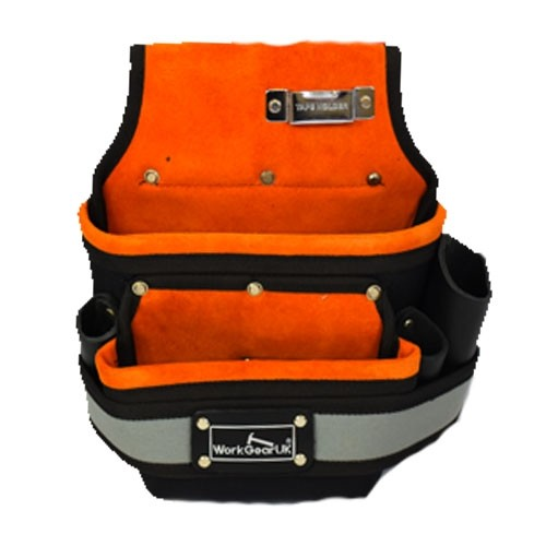Work Gear Uk 2 Pocket Fixing Pouch Made from Heavy Duty Polyester and Suede Leather WG-PX32
