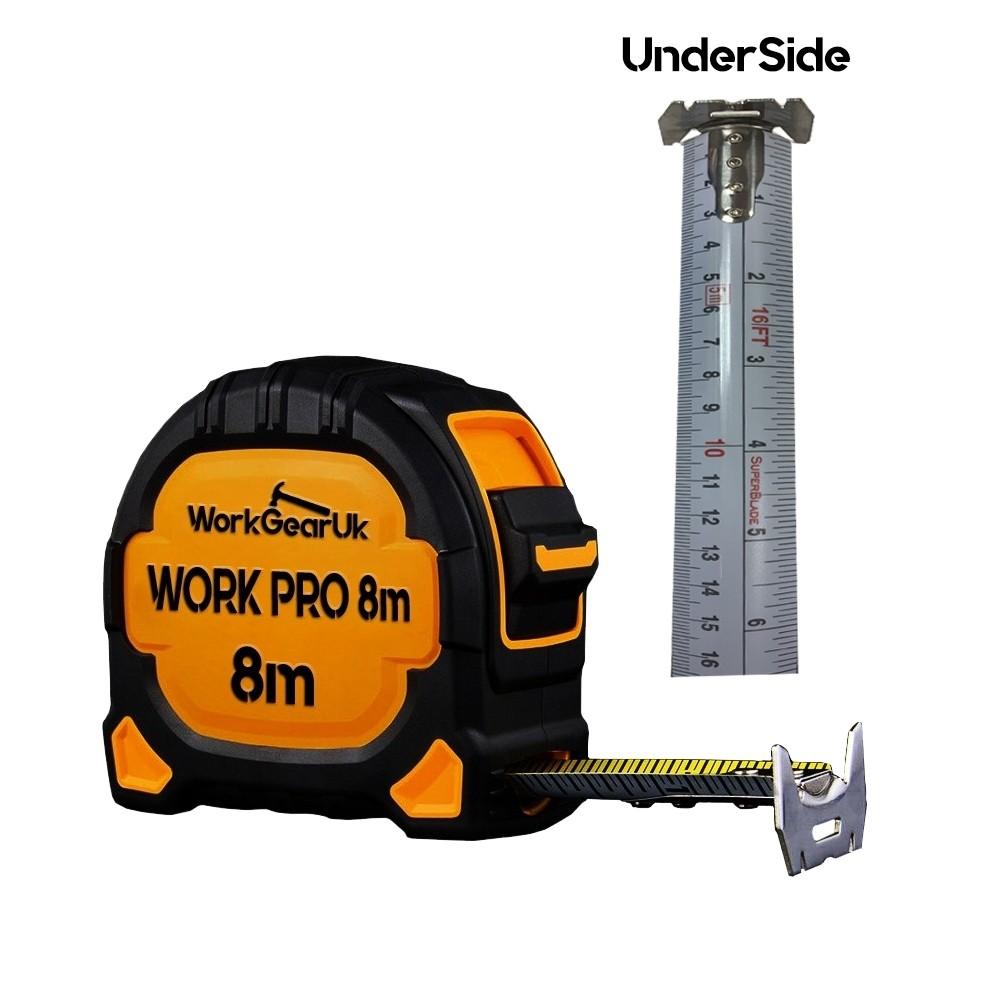 WorkGearUk Work Pro 8M Measuring Tape 8m -27mm  Metric Tape WG-TM08