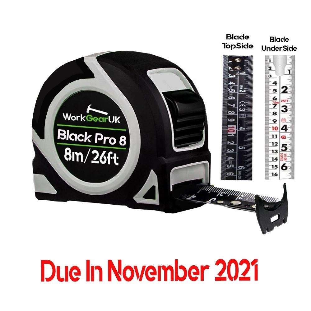 WorkGearUK Black Pro 8 Tape Measure