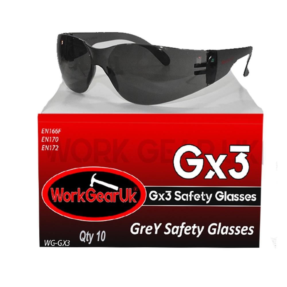 Work Gear Uk GX03 Grey Lens Safety Glass EN166 WG-GX03 Bulk Buy 10 Pack