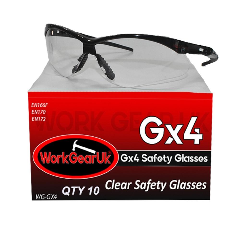 Work Gear Uk GX04 Clear Lens Safety Glass EN166 WG-GX04 Bulk Buy 10 Pack