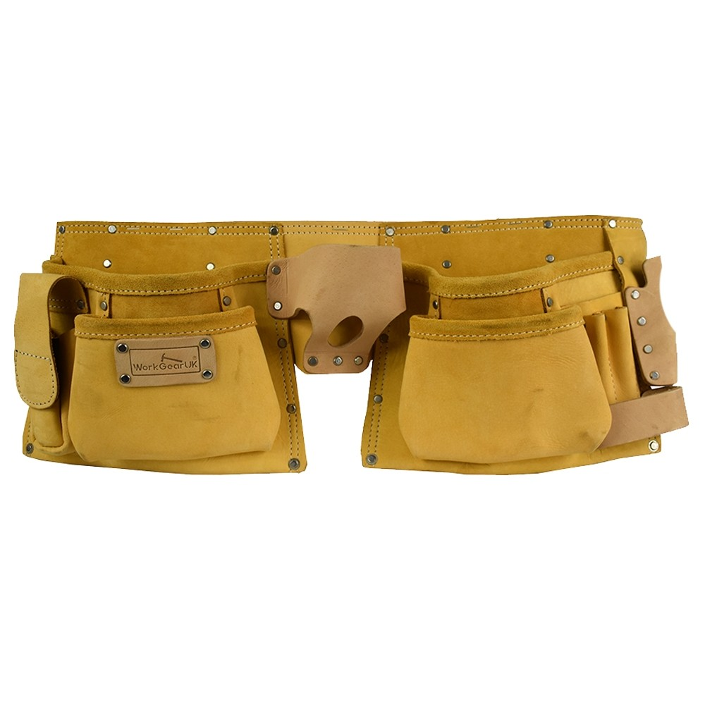 Work Gear Uk 11 Pocket Yellow Split Leather Tool pouch Set WG - PX10
