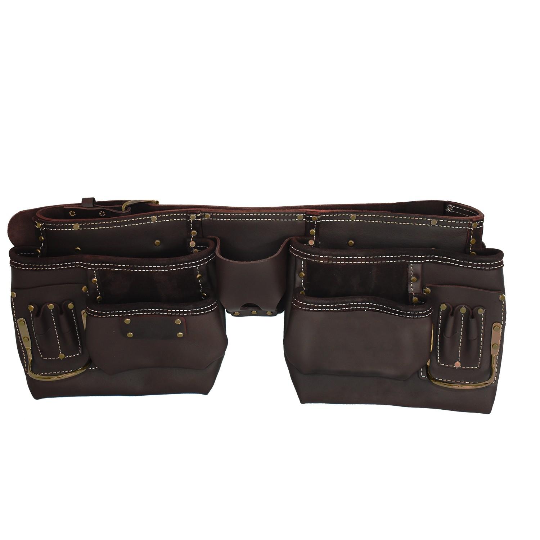 Work Gear Uk 10 Pocket Heavy Duty Split Leather oily Finish Tool pouch Set WG - PX11