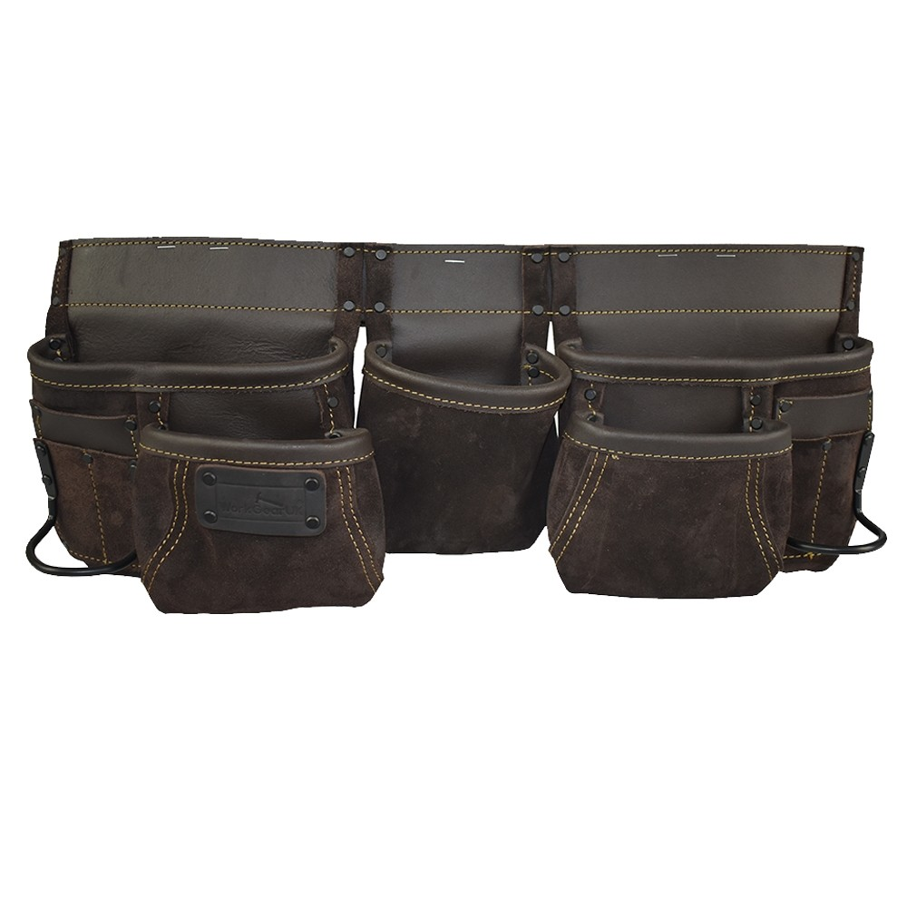 Work Gear Uk 11 Pocket Heavy Duty Split Leather oily Finish Tool pouch Set WG - PX12