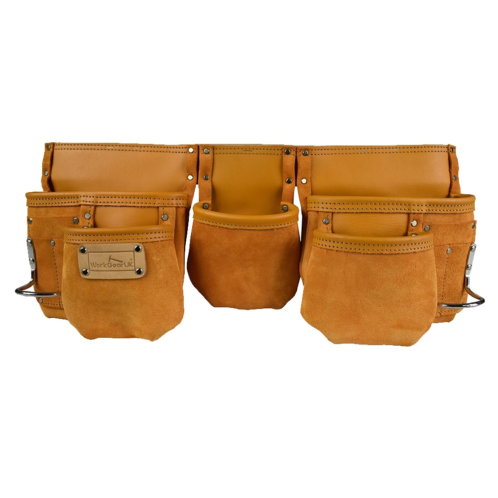 Work Gear Uk 11 Pocket Tool Pouch in Yellow Heavy Duty Finished Split Leather WG-PX13