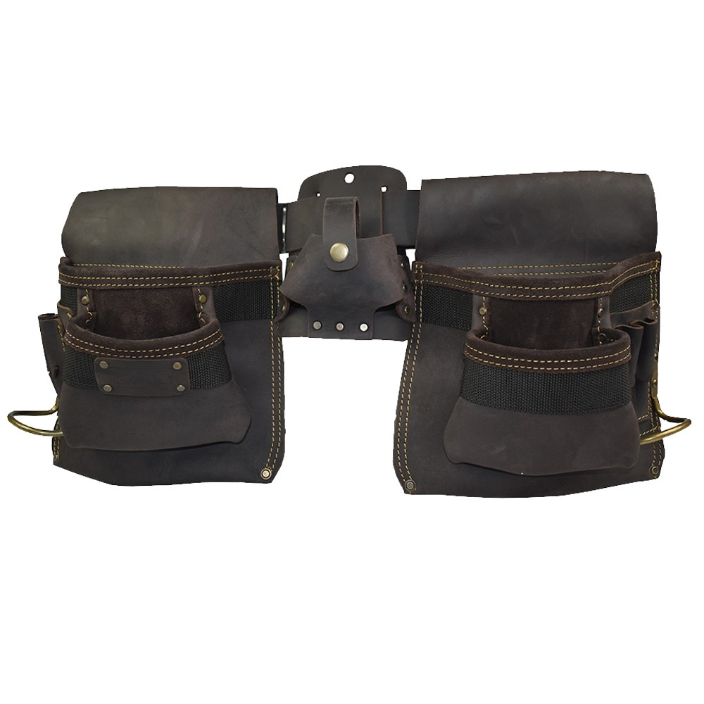 Work Gear Uk 10 Pocket Tool Belt Set With a Heavy Duty Oil -Tanned Top Grain Leather Finish Pouch WG-PX14