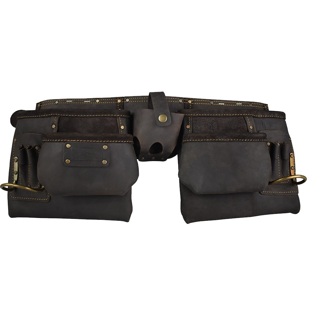 Work Gear Uk 10 Pocket Tool Belt in Heavy Duty Oil -Tanned Top Grain Leather Tool pouch Set WG-PX15