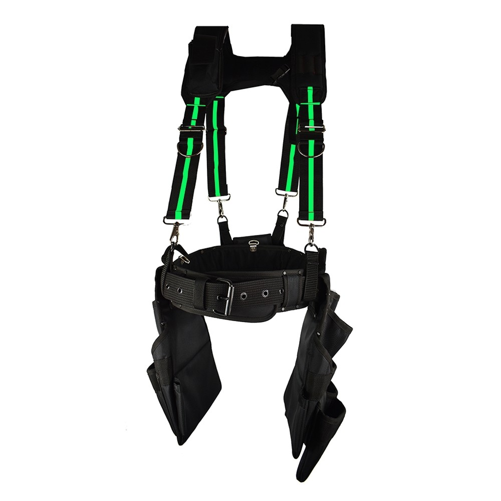 Work Gear Uk 15 Pocket Jumbo Tool Belt and Braces Set Heavy Duty 1680 Denier polyester Fabric  WG - PX18 / HDB06