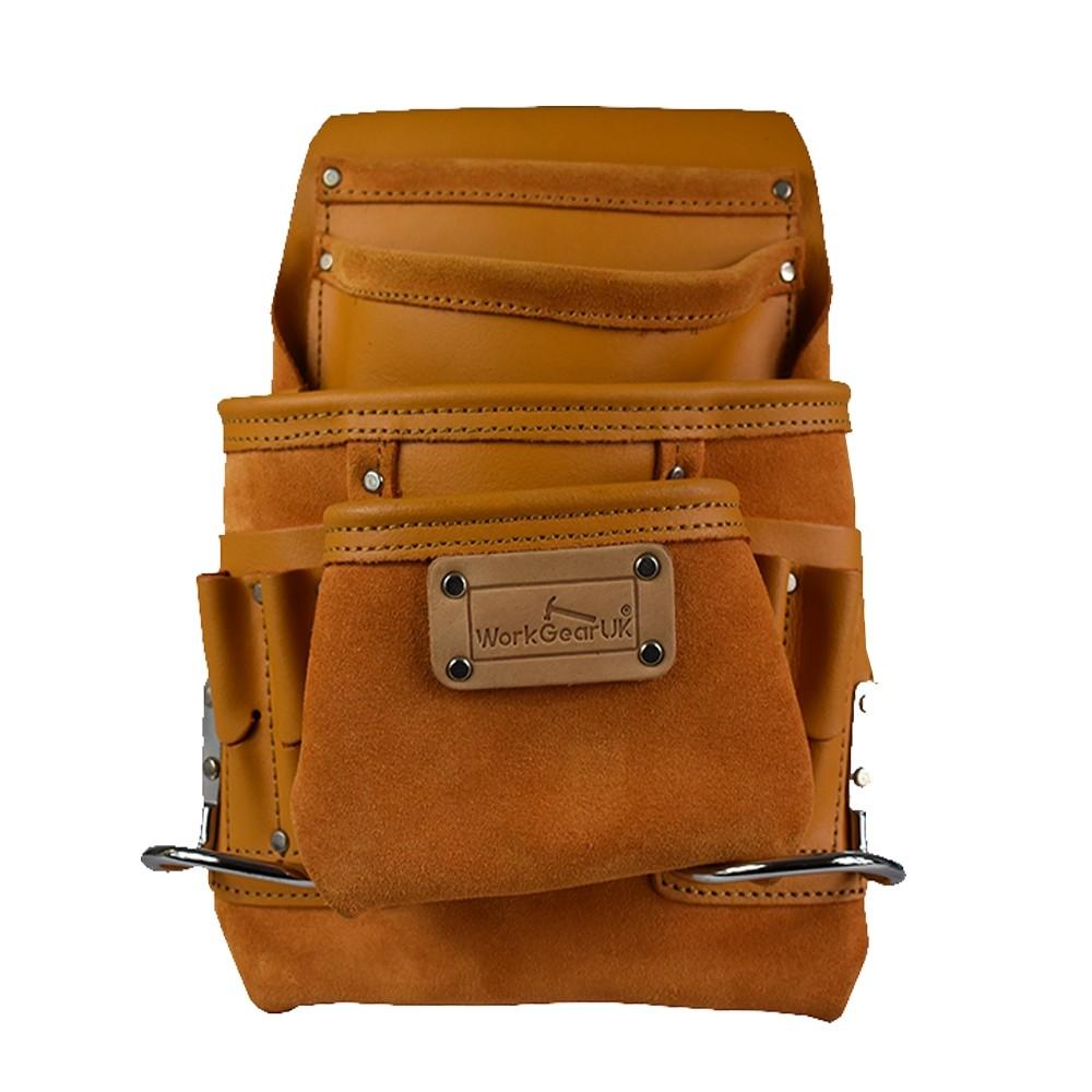 Work Gear Uk 10 Pocket Tool Pouch in Heavy Duty Split Leather in Yellow Finish WG-PX22