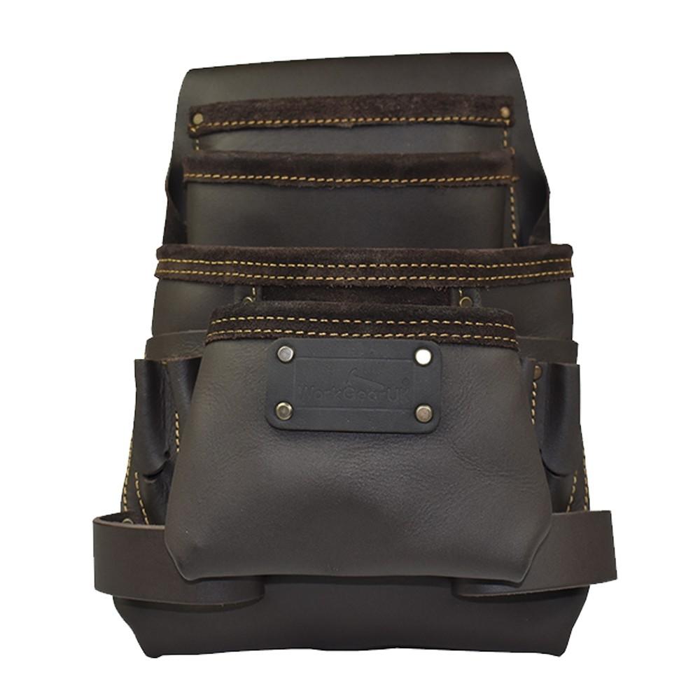 Work Gear Uk 10 Pocket Tool Pouch in Heavy Duty Top Grain Leather oil-Tan Finish WG-PX30