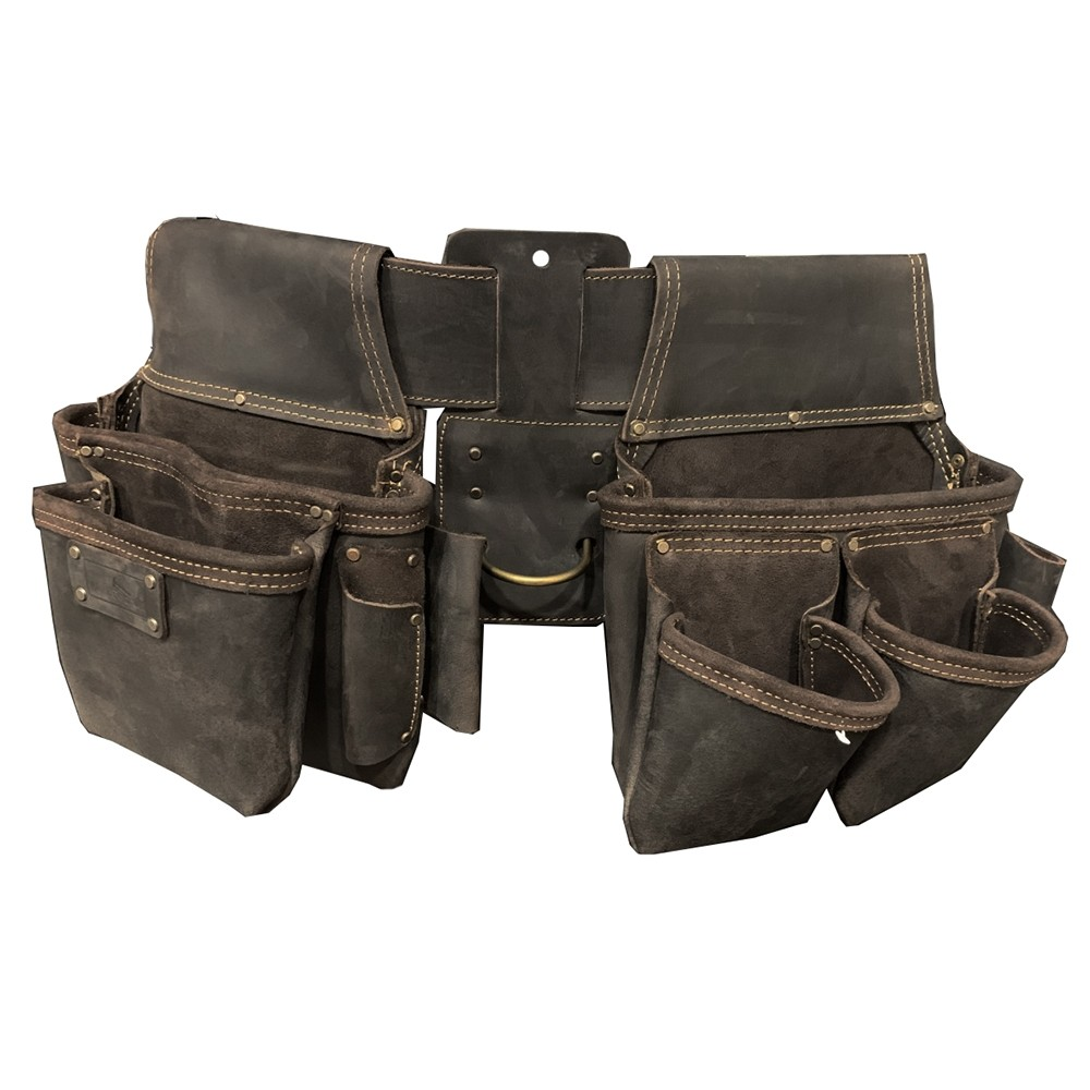 Work Gear Uk 10 Pocket Jumbo Tool Pouch in Heavy Duty Top Grain Leather oil-Dark Tan Finish WG-PX47