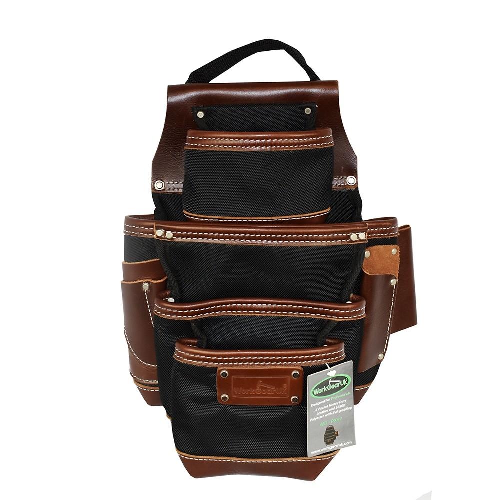 WorkGearUK Pro Pocket Jumbo Tool Belt Pouch With a Heavy Duty Nylon & Top Grain Tan Leather WG-PX49