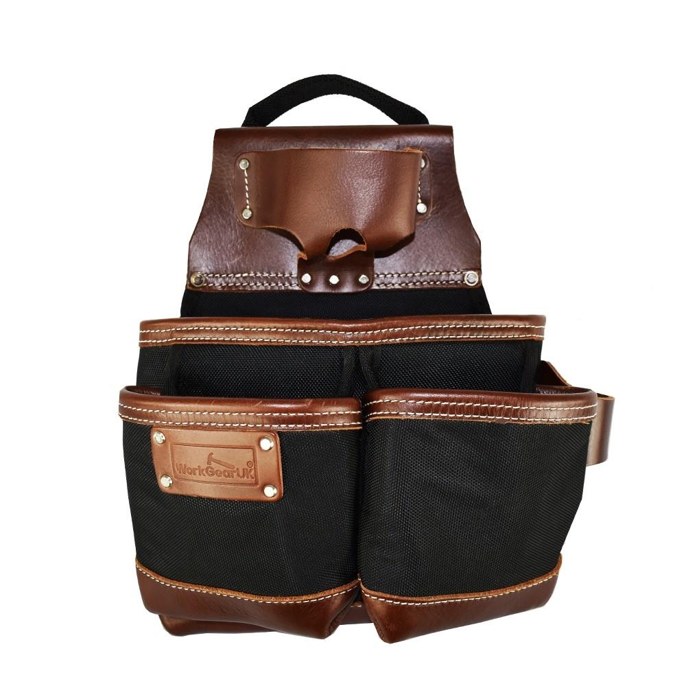 WorkGearUK Pro Pocket Jumbo Tool Belt Pouch With a Heavy Duty Nylon & Top Grain Tan Leather WG-PX50