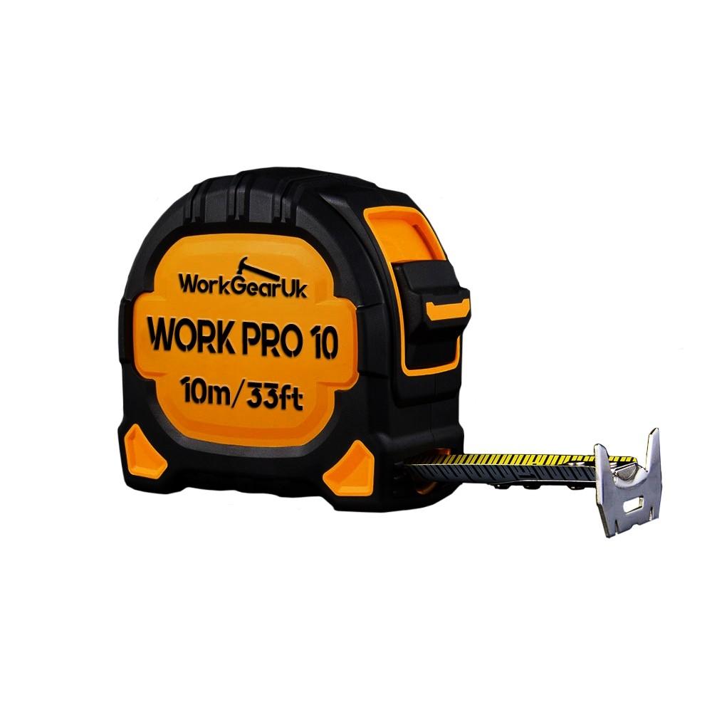 WorkGearUk Work Pro 10 Measuring Tape 10m/33FT - 27mm  Metric Tape WG-TM09